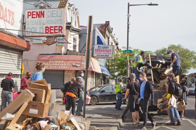 Cleanup volunteers in West Philadelphia