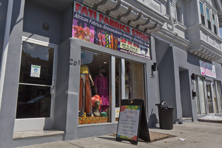 Fati Fabric Store on 52nd Street. The owners moved to the area because of the foot traffic. (Kimberly Paynter/WHYY)