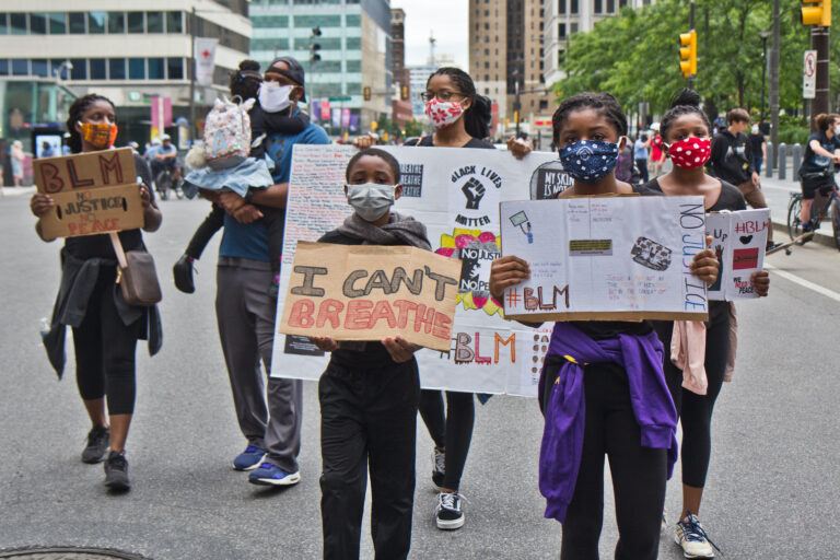 The Cobb family came to City Hall from their home in North Philadelphia to demand justice for George Floyd and others who lost their lives at the hands of police. (Kimberly Paynter/WHYY)