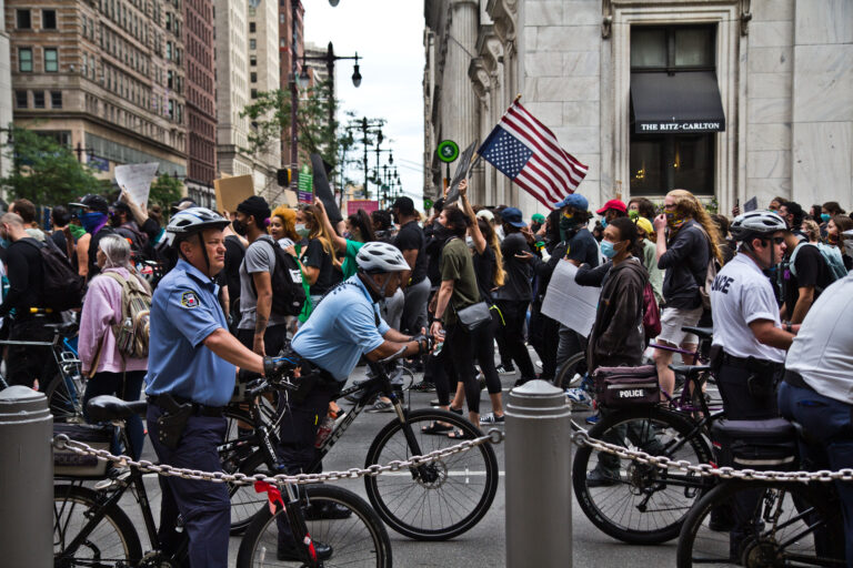 Protesters march through Center City