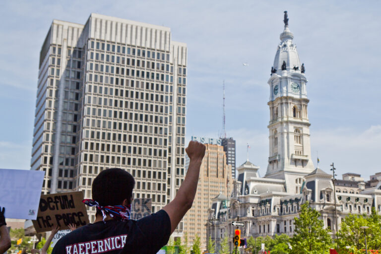 For the sixth day in a row, protesters demanded racial justice in the city of Philadelphia on June 4, 2020. (Kimberly Paynter/WHYY)