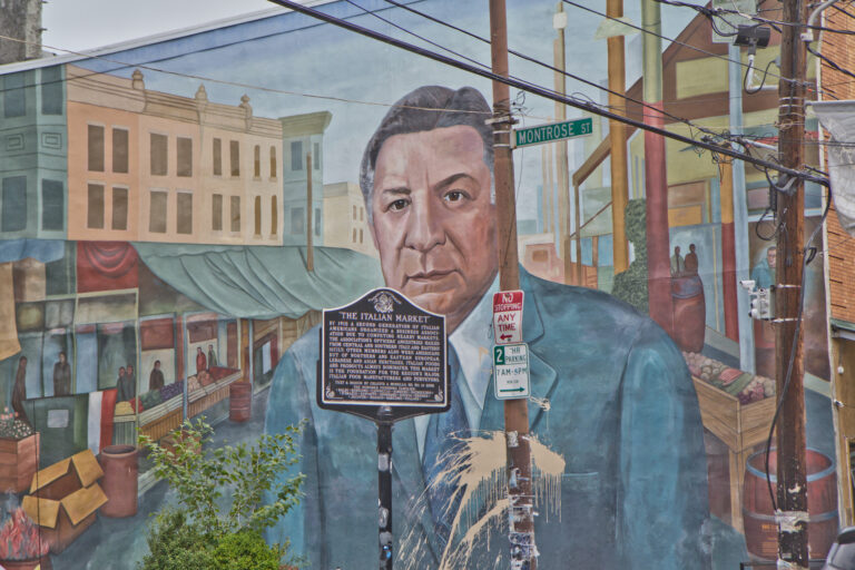 The mural of former Philly Mayor Frank Rizzo in Philadelphia's Italian Market is set to be painted over. (Kimberly Paynter/WHYY)