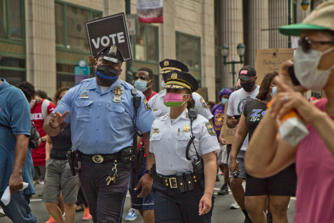 Philadelphia Police Commissioner Danielle Outlaw marched with protesters Saturday in a demonstration for equality and justice. (Kimberly Paynter/WHYY)