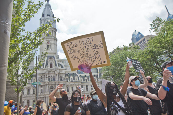 Protesters marched through Center City Philadelphia from the Art Museum and back Saturday, in a mass demonstration that called for police reform in the city and the country. (Kimberly Paynter/WHYY)