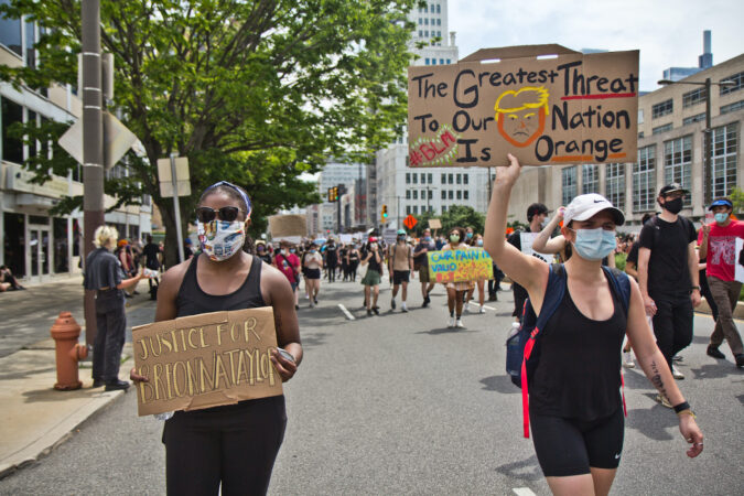 Protests continued Saturday in Philadelphia, with protesters calling for justice for George Floyd, Breonna Taylor, and police reform across the country. (Kimberly Paynter/WHYY)
