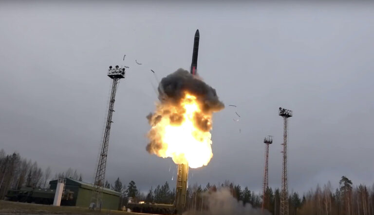 In this photo an intercontinental ballistic missile lifts off from a truck-mounted launcher somewhere in Russia. The Russian military said the Avangard hypersonic weapon entered combat duty. The Kremlin has made modernization of Russia's strategic nuclear forces one of its top priorities. (Russian Defense Ministry Press Service via AP)