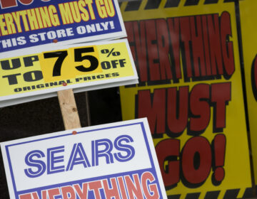 'Store Closing' signs outside of a Sears retail store location in Livingston, New Jersey, on March 23, 2020. (Photo by Kristoffer Tripplaar/Sipa USA)(Sipa via AP Images)