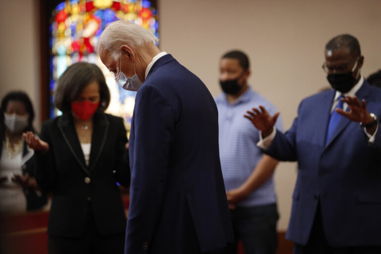 Democratic presidential candidate, former Vice President Joe Biden bows his head in prayer during a visit to Bethel AME Church in Wilmington, Del., Monday, June 1, 2020. (AP Photo/Andrew Harnik)