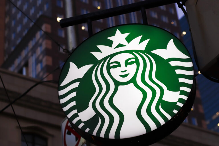 This is the Starbucks sign outside a Starbucks coffee shop in downtown Pittsburgh on Wednesday, June 26, 2019. (AP Photo/Gene J. Puskar)