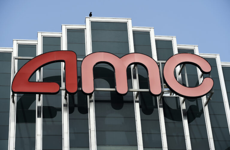 The AMC sign at the currently closed AMC Burbank 16 movie theatres complex is pictured, Wednesday, April 29, 2020, in Burbank, Calif. (AP Photo/Chris Pizzello)