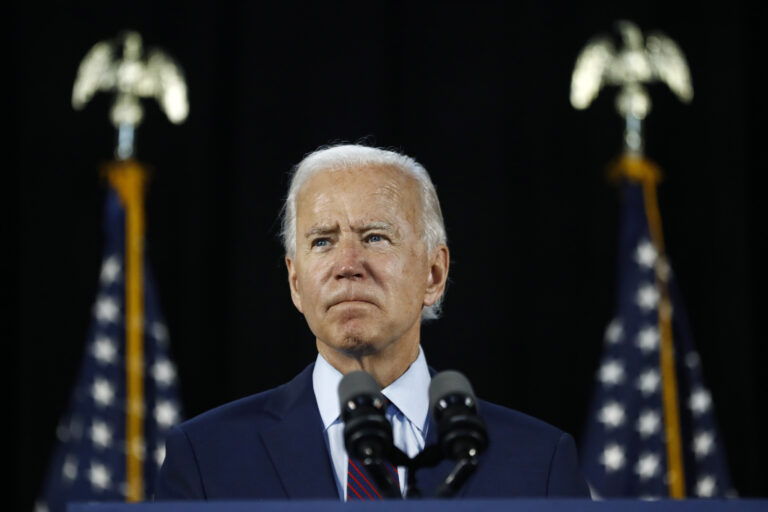In this June 25, 2020, file photo Democratic presidential candidate, former Vice President Joe Biden pauses while speaking during an event in Lancaster, Pa. (AP Photo/Matt Slocum, File)