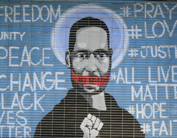 A mural depicting George Floyd