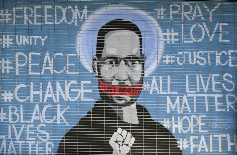 A mural depicting George Floyd