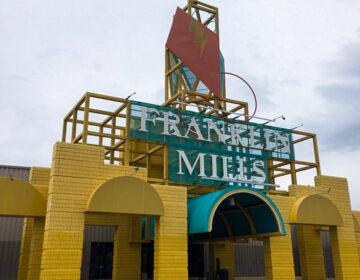 A Glaser-designed entrance at the former Franklin Mills Mall