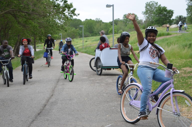 Students bike along Bartram's Garden property (June Mansfield/Bartram's Garden)