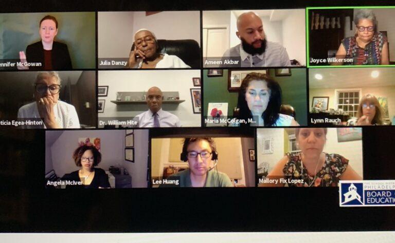 Screenshot of the Board of Education meeting, June 25, 2020.