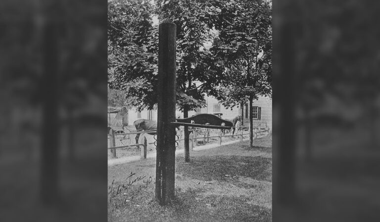 The whipping post in Georgetown, seen here in photo from the Delaware Public Archives, had been on display in the center of town since 1993. It will be taken down as of July 1. (courtesy Delaware Public Archives)