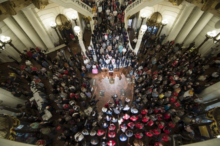 Gun rights advocates gather for an annual rally at the state Capitol in Harrisburg, Pa., Monday, May 6, 2019. (Matt Rourke/AP Photo)