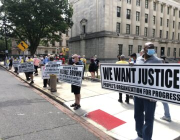 Activists and supporters held a rally and march in New Jersey to call on the state to take action on police reform. (Kenneth Burns/WHYY)