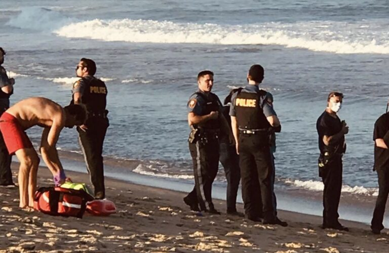 First responders on the Asbury Park beach after a water rescue on Sunday evening. (Courtesy of Michael Levin)