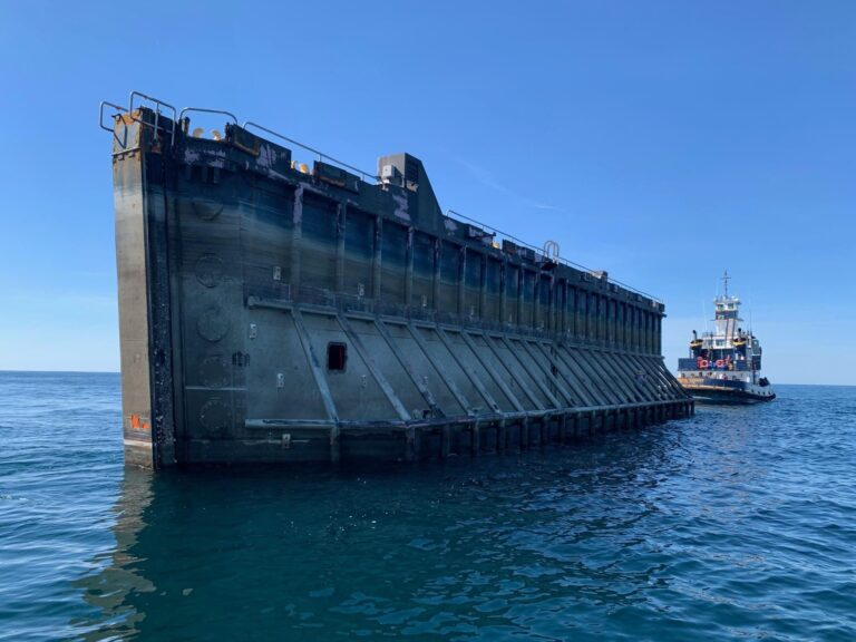 A 150-foot long caisson gate was deployed on the Deepwater Reef site off the New Jersey coast on Monday, June 8. (Courtesy of the New Jersey Department of Environmental Protection)