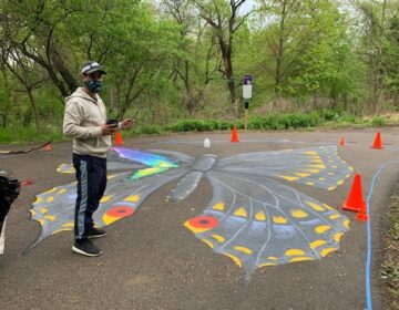 Jay Coreano's street murals in progress at Tacony Creek Park. (Courtesy of Julie Slavet/TTF Watershed Partnership)