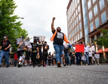 Coby Owens leads marchers through Wilmington during a protest that was peaceful from start to finish. (Courtesy of Coby Owens)