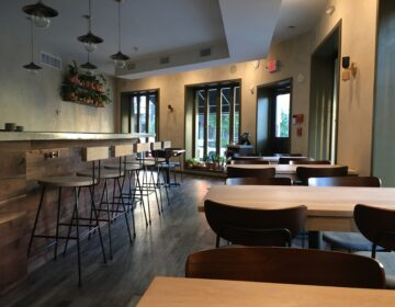 Tables are empty at River Twice restaurant in Philadelphia. (Provided by River Twice)