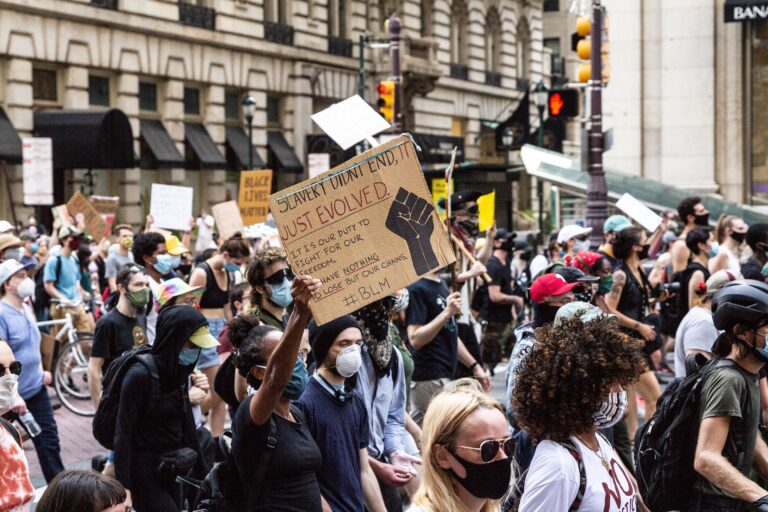 Protesters marched from South Philadelphia to City Hall on June 23, 2020, demanding an end to police brutality during ongoing demonstrations in Philadelphia. (Kimberly Paynter/WHYY)