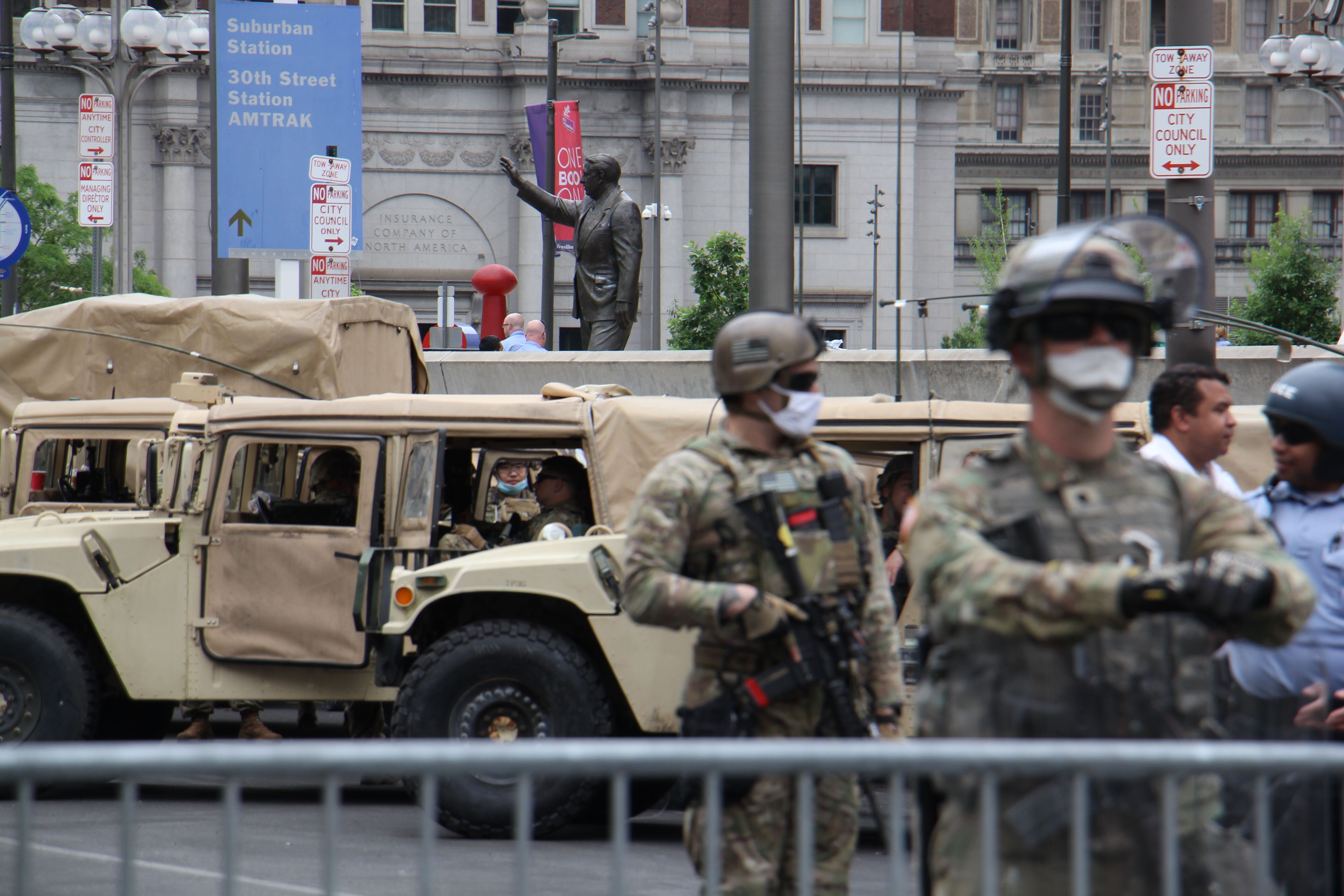 National Guard protects the Frank Rizzo statue in Philadelphia