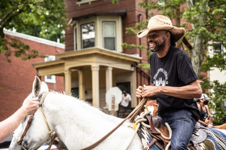 Al Lynch rode his horse to Malcolm X Park from North Philadelphia to celebrate Juneteenth. (Kimberly Paynter/WHYY)