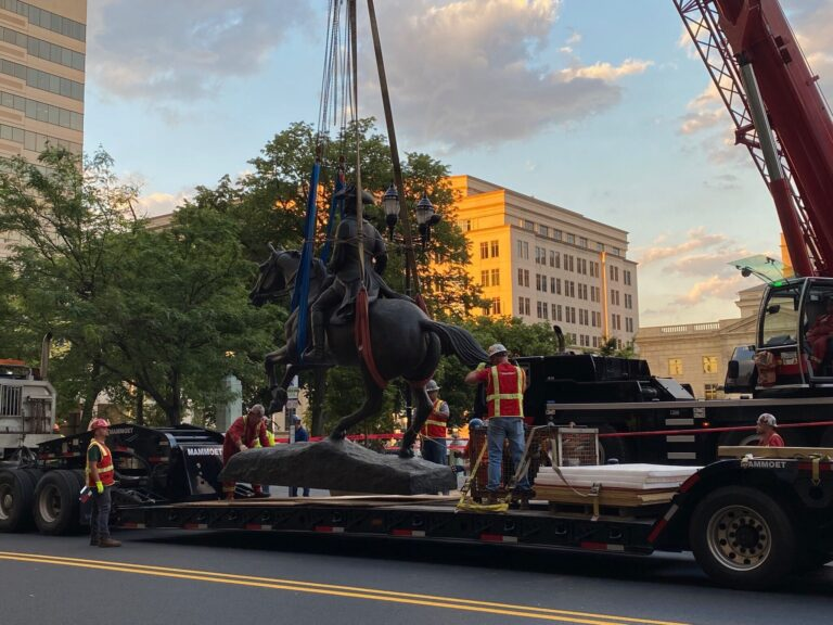 The City of Wilmington removes the Caesar Rodney statue. (Courtesy of the City of Wilmington.)