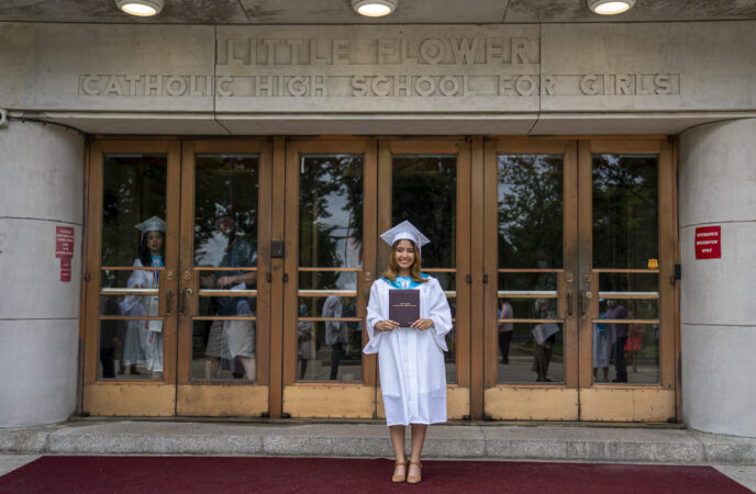 Ashley on graduation day at Little Flower Catholic School for Girls in Hunting Park. (Jessica Kourkounis for Keystone Crossroads)