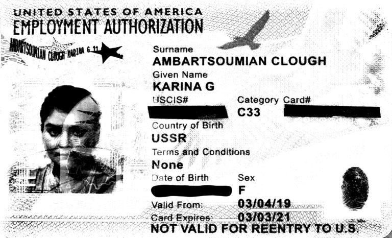 Karina Gareginovna Ambartsoumian-Clough's employment card. (Courtesy of Karina Gareginovna Ambartsoumian-Clough)