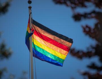 An LGBTQ pride flag flies in Pennsylvania.