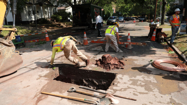Lead service lines being replaced in Newark, summer 2019. The city's replacement program is expected to be completed well ahead of schedule. A schedule for the rest of the state is up in the air. (Governor's office)
