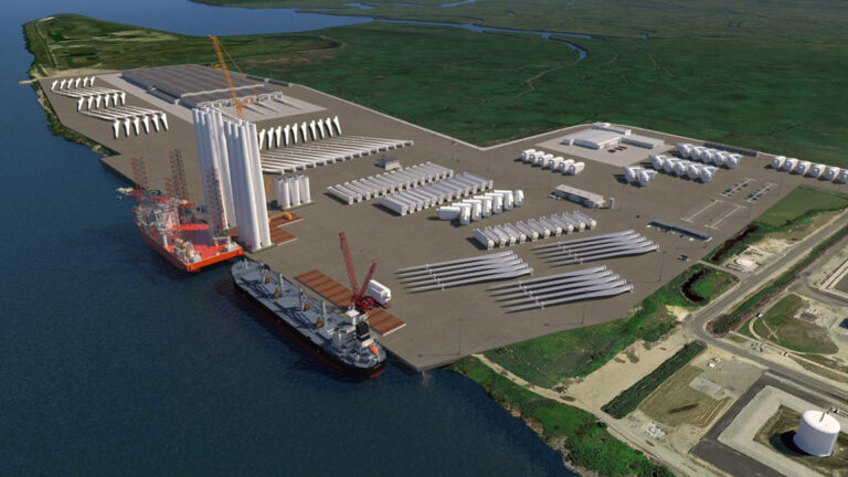 A rendering of the New Jersey Wind Port in Salem County