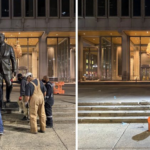 City workers removed the statue of Frank Rizzo in Wednesday's predawn hours. (Courtesy of City of Philadelphia)