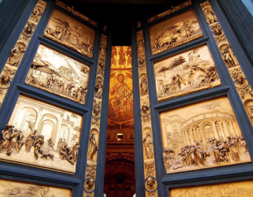 gold plated church doors by Renascence artist Lorenzo Ghiberti