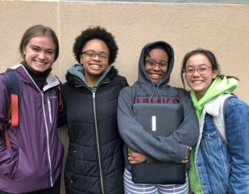 (Left to right) Julia R. Masterman School rising seniors Aden Gonzales, Nia Weeks, Tatiana Bennett, and Taryn Flaherty en route to turn in their historical marker application. December 2019. (Photo courtesy of Aden Gonzales)