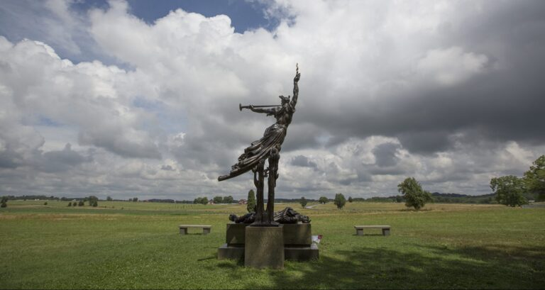 The Louisiana Monument raises up near the rebel encampment on Seminary Ridge on the Gettysburg battlefield, July 1, 2013, the 150th anniversary of the first day of the historic 1863 battle. (Mark Pynes | mpynes@pennlive.com)