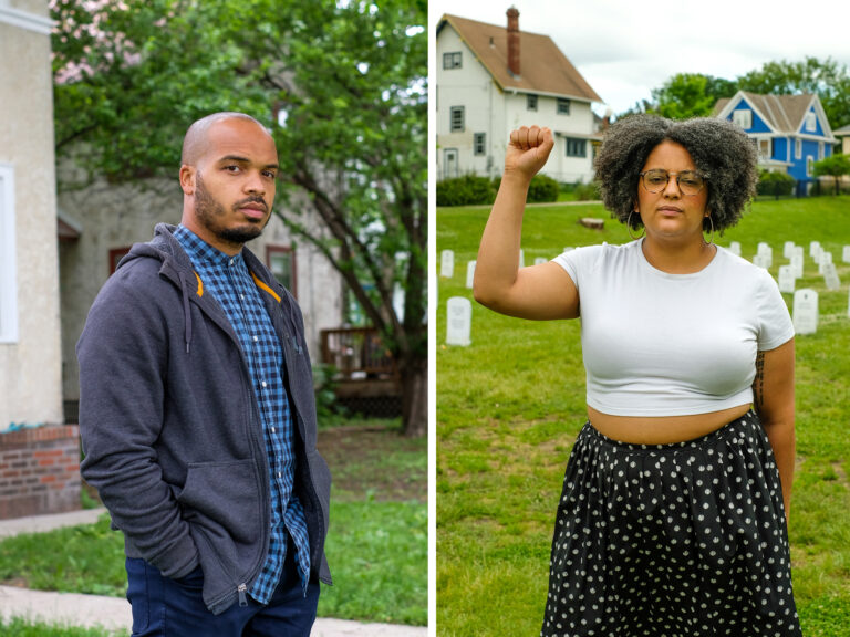 Jeremiah Ellison, Kandace Montgomery and Arianna Nason are among those leading the push to dismantle the Minneapolis police department. (Laylah Amatullah Barrayn for NPR)