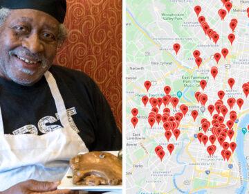 Levi Scott Sr. at Crimson Cafe in West Philadelphia; Screenshot from Charles Rumford's map DANYA HENNINGER / BILLY PENN