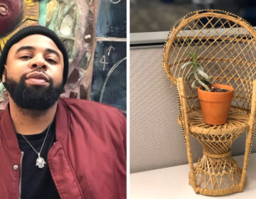 Inquirer reporter Brandon T. Harden and his office plant, Assata