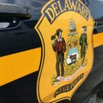 A closeup of a Delaware State Police vehicle