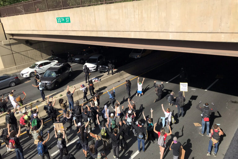 Protesters face off with police during a demonstration on I-676 in Philadelphia on Monday, June 1 (Courtesy of Pilar Goñalons Pons)
