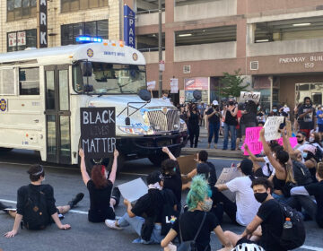 Protesters block the passage of a prisoner transport bus in Philadelphia on May 30, 2020 PROVIDED BY AUTHOR