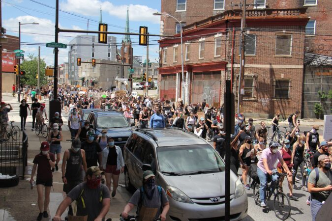 Protesters march from Eastern State Penitentiary to police headquarters