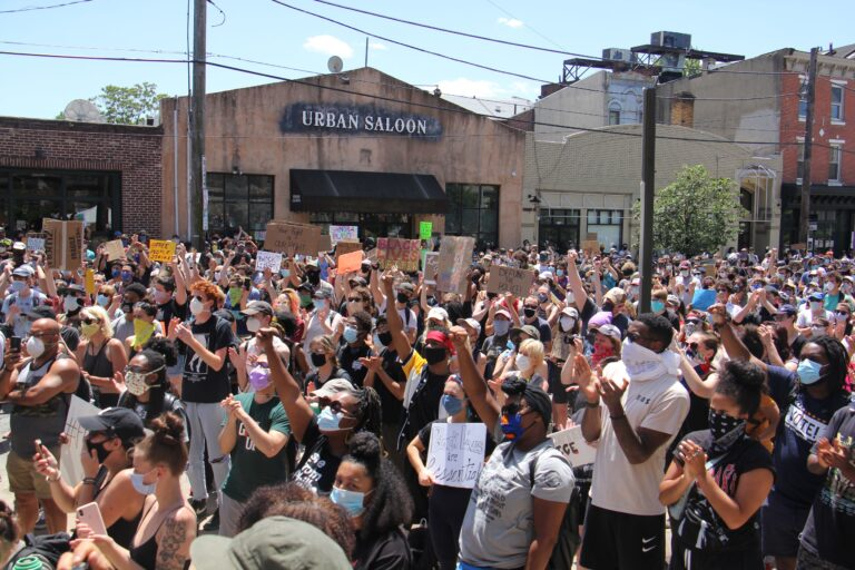 Hundreds of protesters gather at Eastern State Penitentiary