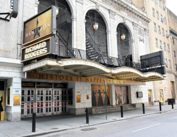 The Richard Rodgers Theater, closed due to the coronavirus, is pictured above on April 8 in New York City.
